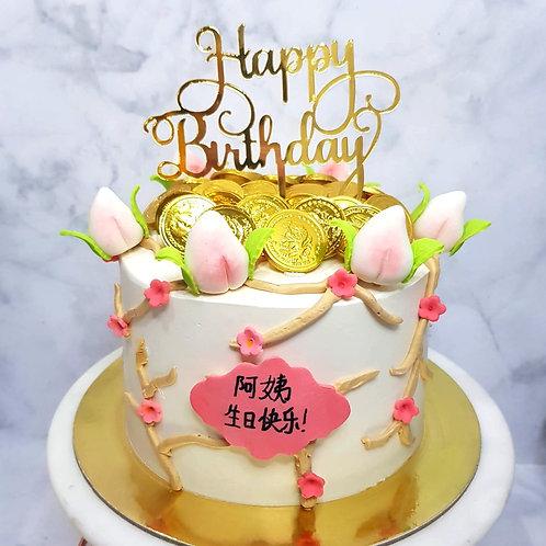 Peach Blossoms Longevity Money Pulling Cake