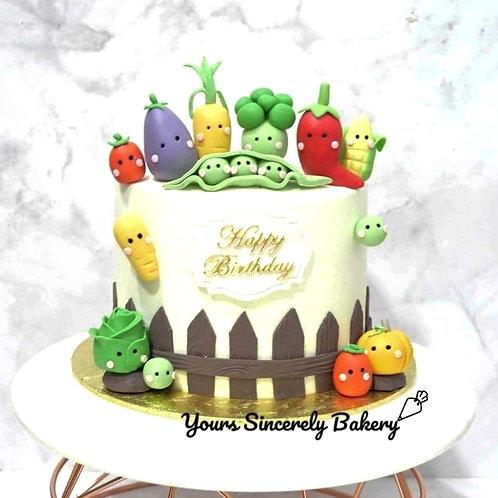 Cute Vegetables Farm Cake