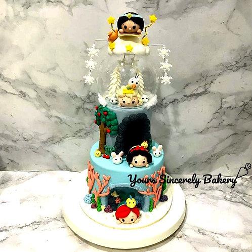 Tsum Tsum Frozen Elsa Aladdin Jasmine Snow White Little Mermaid Two Tier Cake