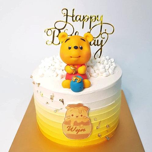 Winnie the Pooh Ombre Yellow Swirl Money Pulling Cake