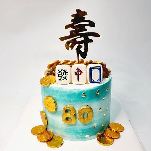Turquoise & White Mahjong Money Pulling Cake