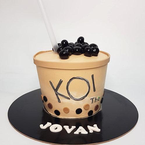 KOI Bubble Milk Tea with Pearl Cake