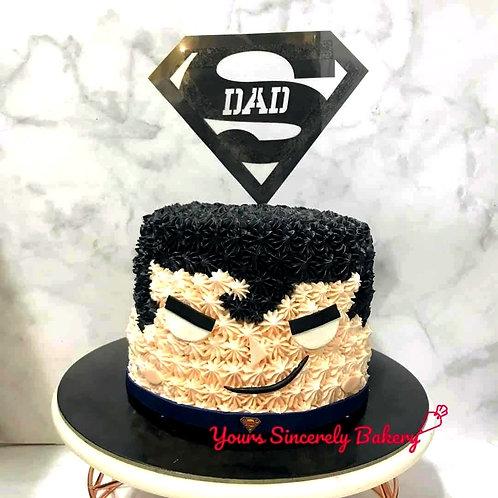 Superman Square Head Father's Day Cream Cake