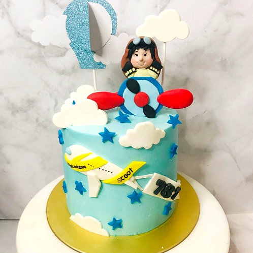 Little Girl Airplane Flight Aeroplane Blue Sky Themed Cake