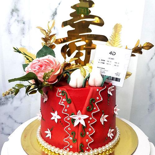 Red Peranakan 4D Floral Longevity Money Pulling Cake