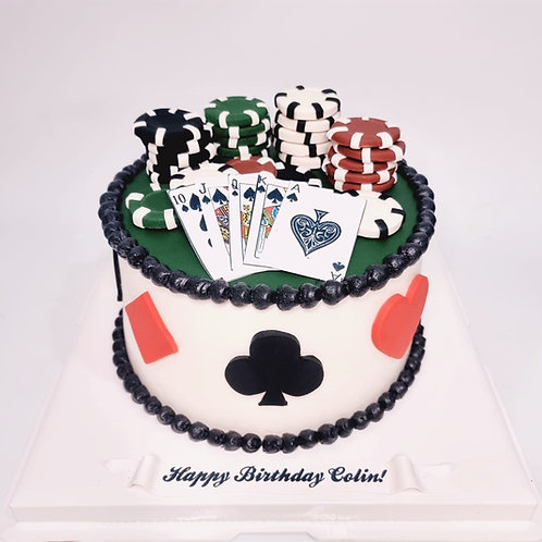 Casino Poker Cards with Chips Themed Cake