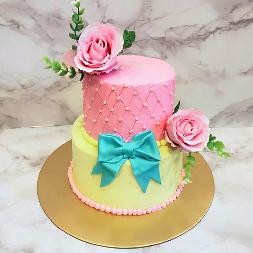 Sweet Floral Two Tier Cake
