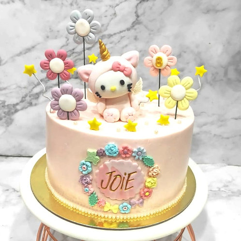 Hello Kitty Unicorn Pink Floral Cake