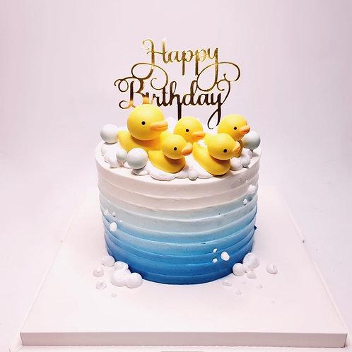 Five Ducks Blue Ombre Money Pulling Cake
