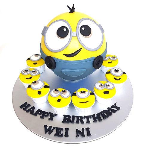 Minion Pinata Knock Knock Cake with mini cupcakes