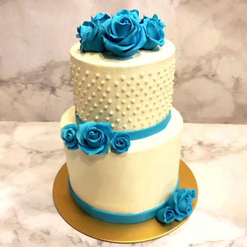 Blue Rose Two Tier Cake