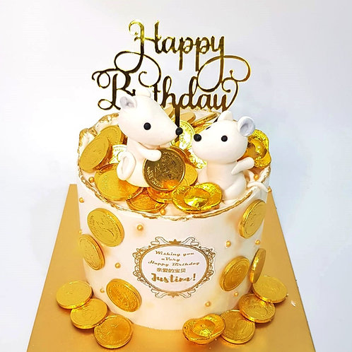 Cute Mice Money Pulling Cake