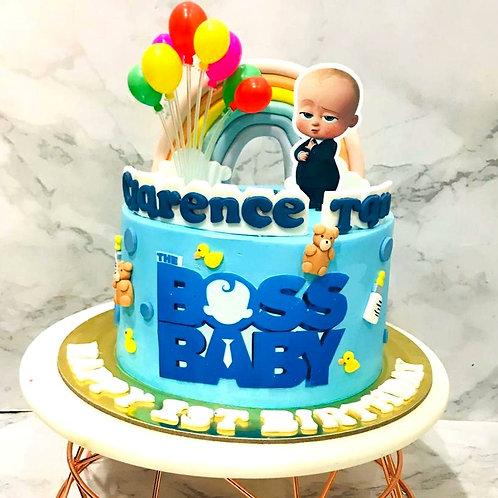 Baby Boss Rainbow Balloon Teddy Bear & Duck Themed Cake