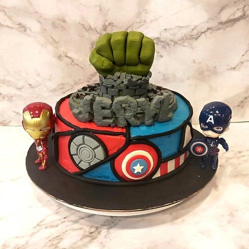 Avengers Themed  M&M Pinata Cake