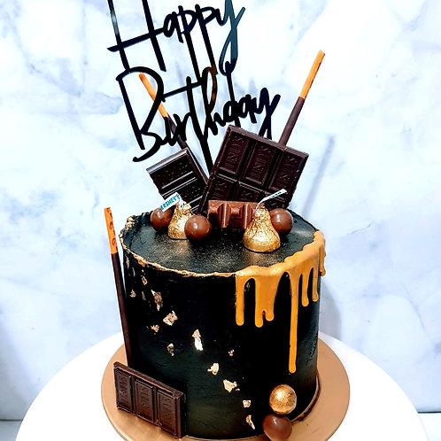 Black And Gold Drip Chocolate Design Cake