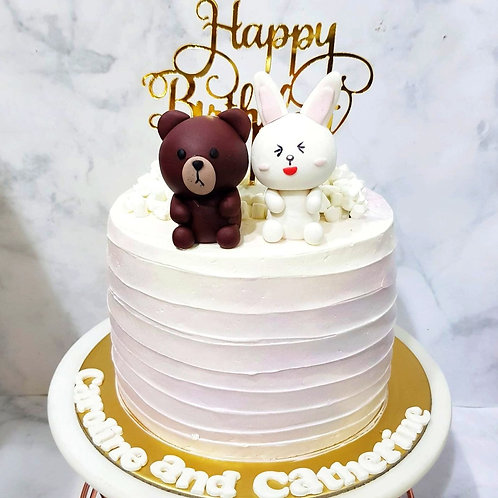 Baby Line Bear & Cony Rabbit Swirl Money Pulling Cake