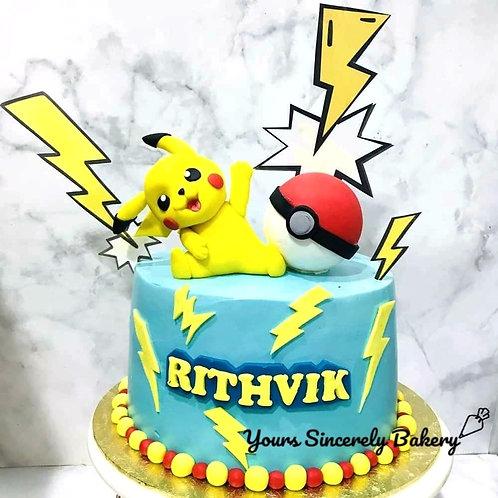 Pikachu Pokemon Themed Blue Cake