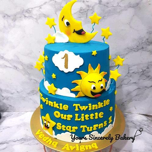 Twinkle Star, Moon, Sun Dark Blue Two Tier Cake