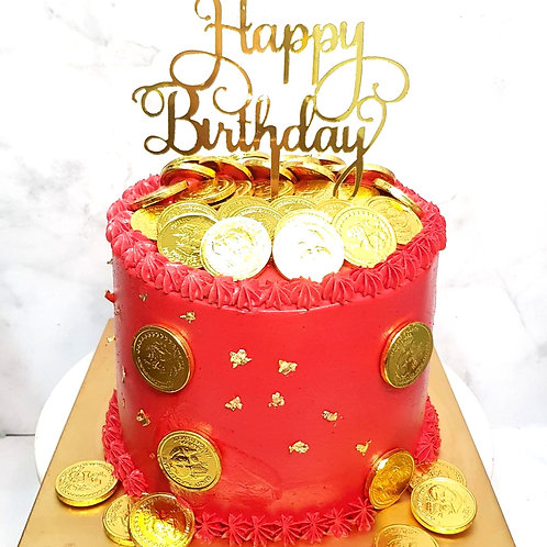 Red Simple Money Pulling Cake