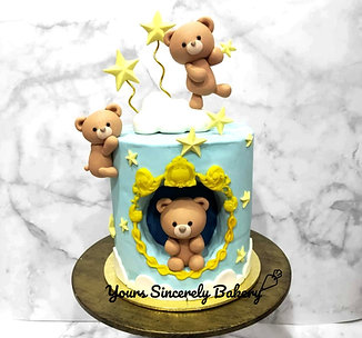 Cute Teddy Bear Clouds & Star Blue Cake