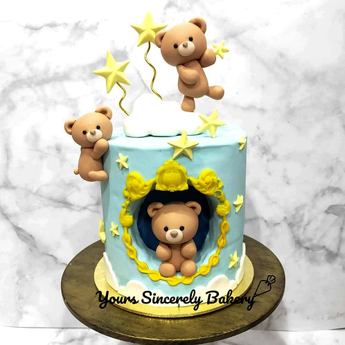 Cute Teddy Bear Clouds & Star Blue Cake