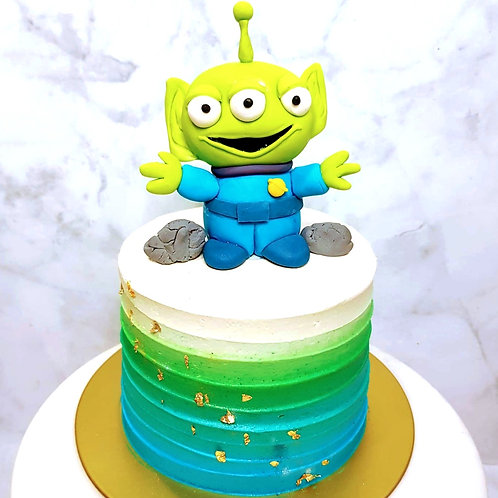 Toy Story Alien Green And Blue Themed Cake