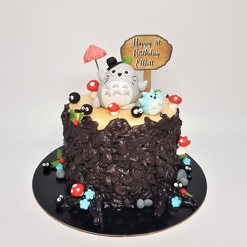Totoro With Friends Tree Stump Cake