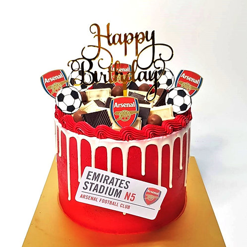 Arsenal Soccer Ball Red And White Drip Money Pulling Cake