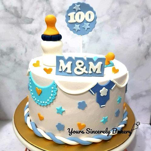 Baby Boy 100th Days Blue & White Themed Cake