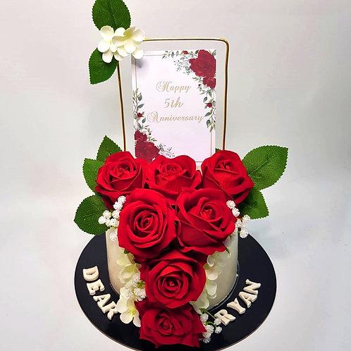 Red Roses Money Pulling Cake