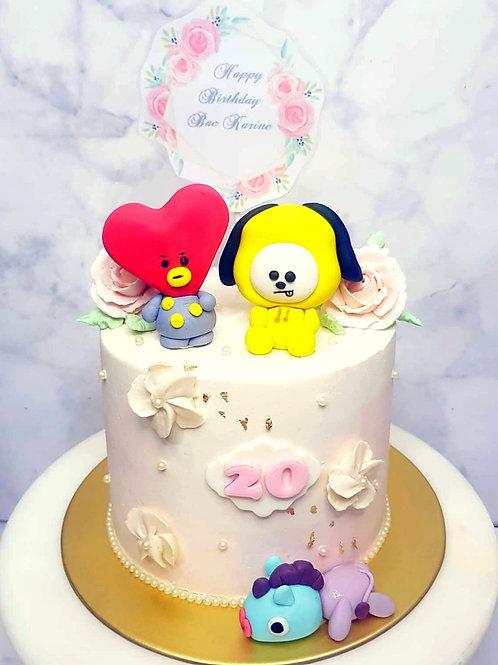 BTS BT21 Tata, Chimmy, Mang Floral Cake