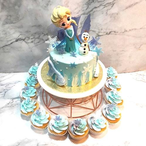 Frozen Elsa & Olaf Cake + Cupcake
