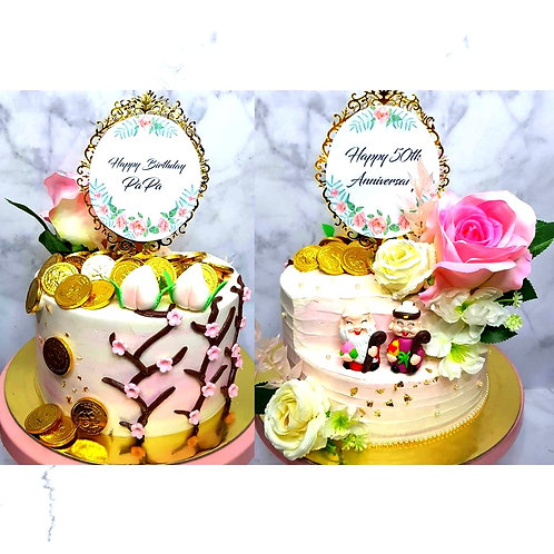Two-Sided Longevity And Anniversary Money Pulling Cake
