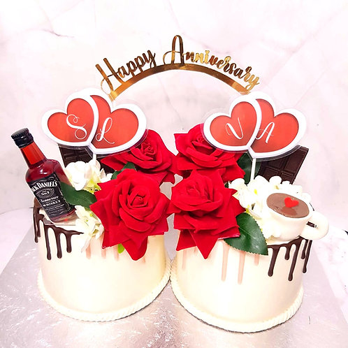 Anniversary Floral Drip Double Money Pulling Cake