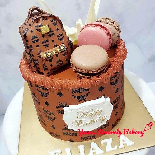 MCM Mini Bag with Macarons Themed Cake
