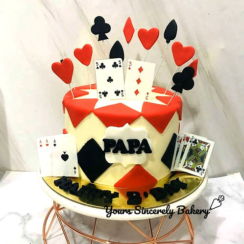Poker Cards Red And Black Cake