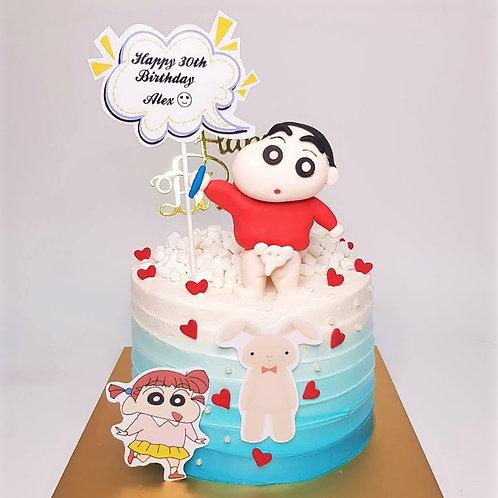 Crayon Shin Chan La Bi Xiao Xin JJ Elephant Blue Ombre Themed Cake