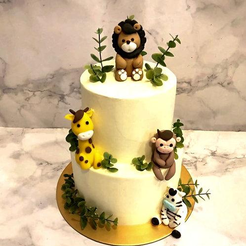 Safari Theme Two Tier Cake