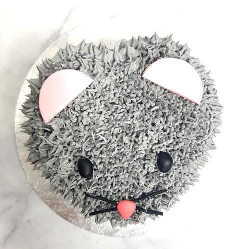 Cute Grey Mouse Cream Cake