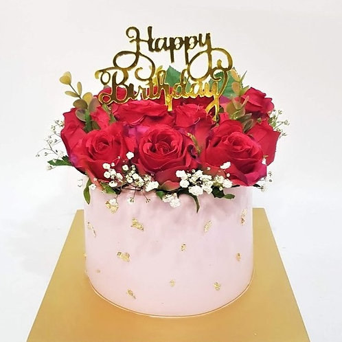 Floral Roses Pink Money Pulling Cake