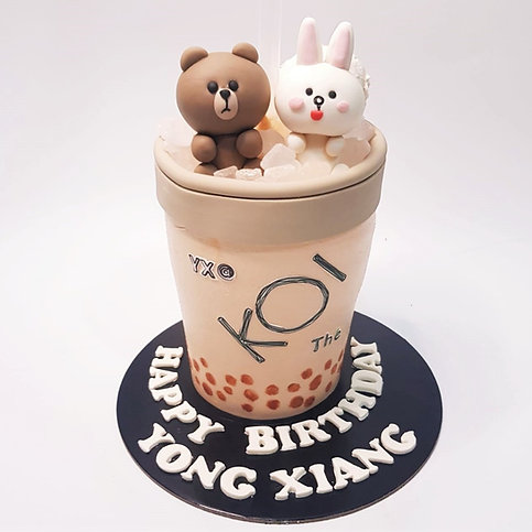 Line Bear and Cony KOI Bubble Tea Cake
