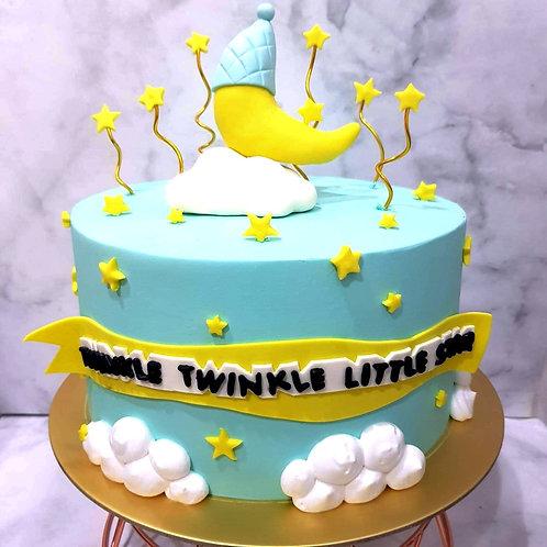 Twinkle Star & Moon Pastel Blue Cake
