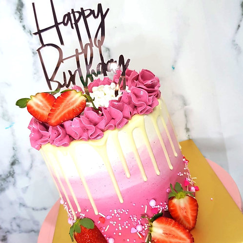 Strawberry Pink And White Drip Money Pulling Cake
