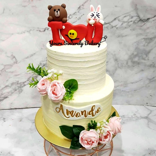 Line Bear & Cony LOVE Two Tier Cake