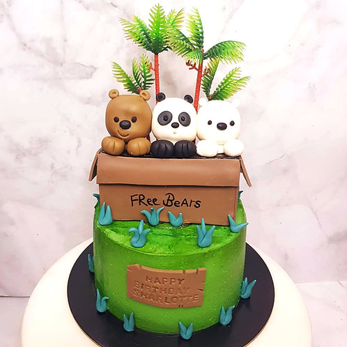 We Bare Bears Free Bears Forest Themed Cake