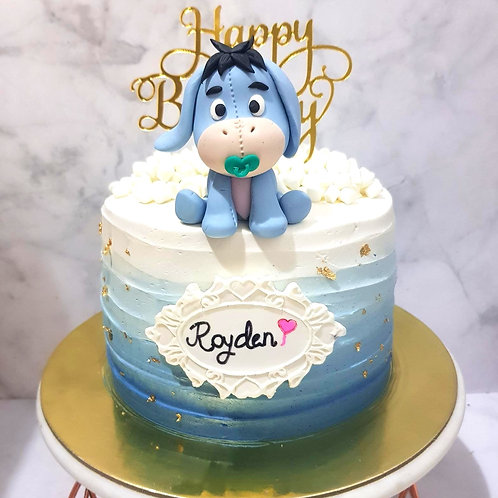 Baby Eeyore Ombre Blue Swirl Money Pulling Cake