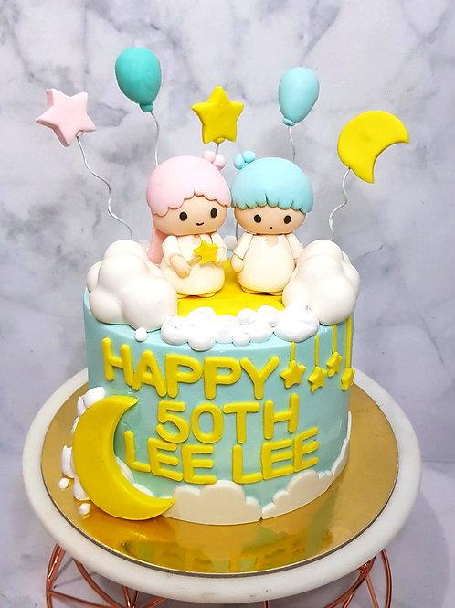 Litter Twin Star Kiki Lala Themed Cake