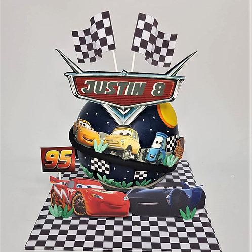 Lightning McQueen Car Themed Knock Knock Pinata Cake