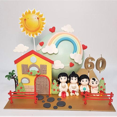 Happy Family Knock Knock  Pinata Cake