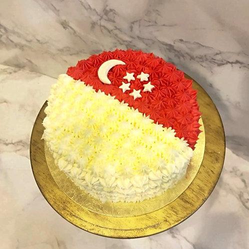 National Day Singapore Flag Cream Cake